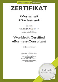 Worldsoft Certified eBusiness Consultant Zertifikat